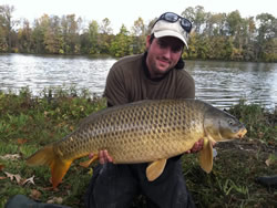 Matt Broekhuizen with a 26.15 lb common caught during day 2 of the 2011 Wild Carp Fall Qualifier in Baldwinsville, NY