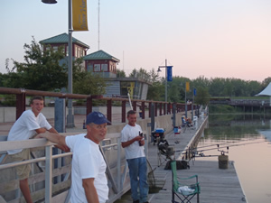 It was a slow night at the Syracuse Inner Harbor, where none of the anglers were able to catch a carp