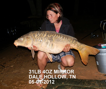 Director Christine Stout with a 31+ lb mirror carp caught in Dale Hollow, TN