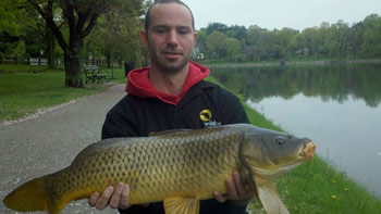 Jason Carl with a common caught during Session 2 of the innaugural season of Wild Carp Club of New England
