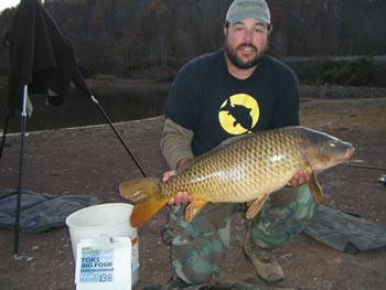 Wild Carp Club of the Virginias Director Mike Turpin with a common carp caught for the Fall '12 TOKS competition.