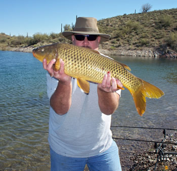 Robert Hogan enjoying a carp angling session in Arizona