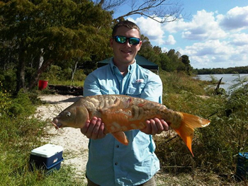 Wild Carp Club of Houston Director Nick Davis with a nice Mirror Carp caught in Houston, TX