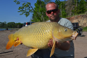 WCC of North Texas Director Jon Eisen with a beautiful common carp caught at Lake Fork in Quitman, TX.